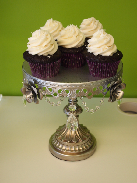 Silver w/Roses Cupcake Stand