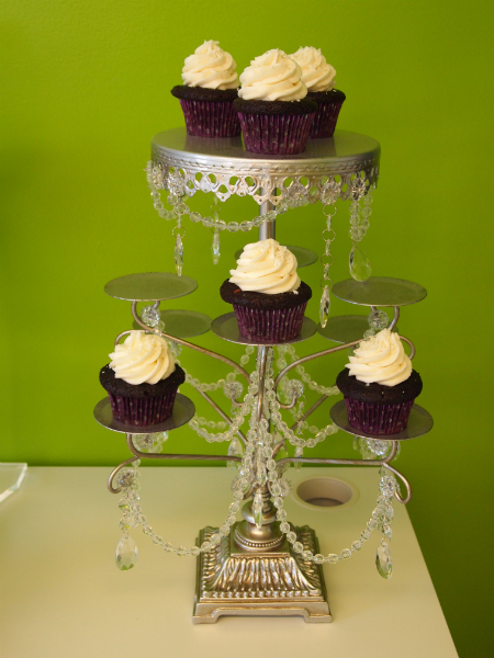 Silver w/Crystals Cupcake Stand