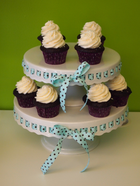 Two-Tier Round White Milk Glass w/Ribbon Cupcake Stand